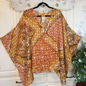 Ruby Rd Sheer Print Top/Poncho/Cover Up Sz 1X